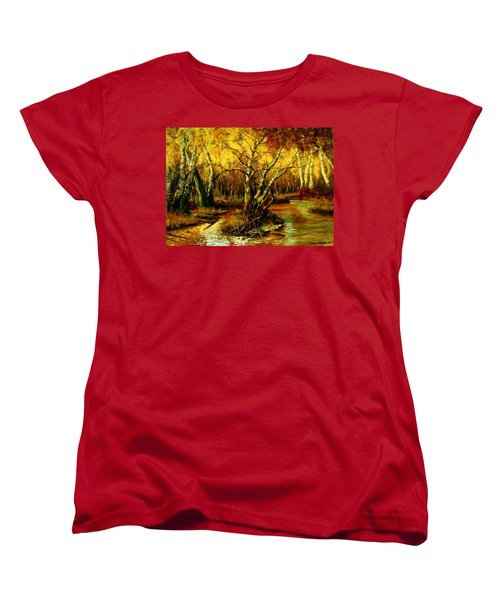 Women's T-Shirt (Standard Cut) featuring the painting River In The Forest by Henryk Gorecki