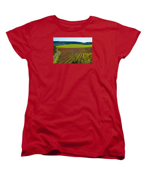 Rolling Hills And Vineyards Women's T-Shirt (Standard Cut) by CML Brown
