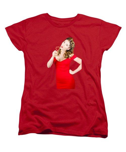Romantic Blond Pin-up Lady Blowing Party Bubbles Women's T-Shirt (Standard Cut)