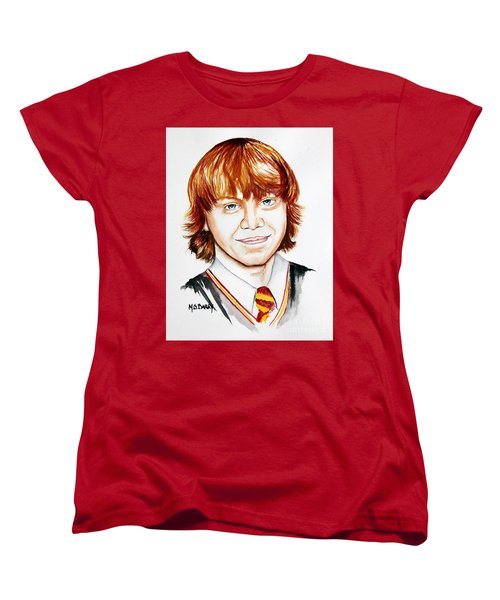 Women's T-Shirt (Standard Cut) featuring the painting Ron Weasley by Maria Barry