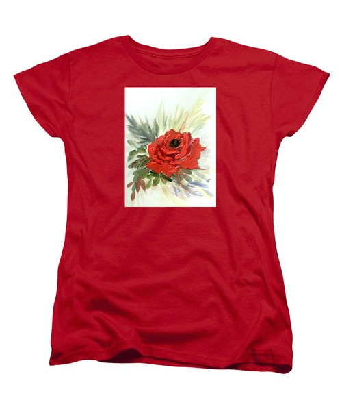 Women's T-Shirt (Standard Cut) featuring the painting Roses Are Red by Dorothy Maier