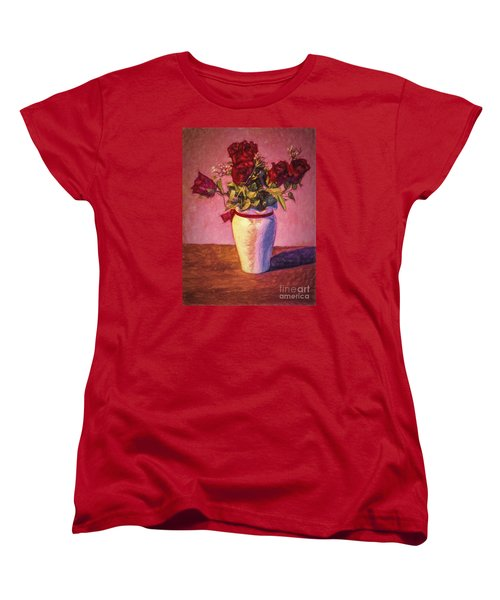 Women's T-Shirt (Standard Cut) featuring the photograph Roses In Vase  ... by Chuck Caramella