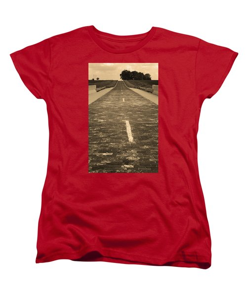 Women's T-Shirt (Standard Cut) featuring the photograph Route 66 - Brick Highway 2 Sepia by Frank Romeo