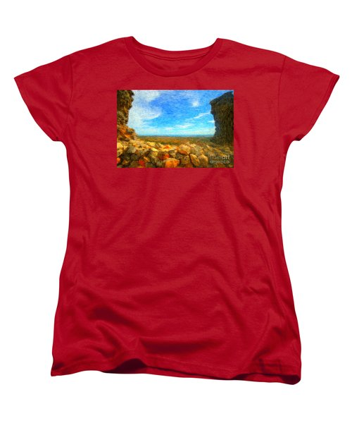 Ruins View Of Mediterranean Women's T-Shirt (Standard Cut)