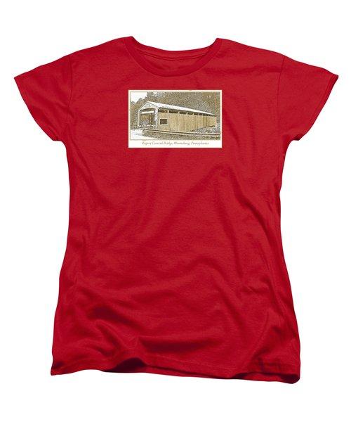 Women's T-Shirt (Standard Cut) featuring the digital art Rupert Covered Bridge Bloomburg Pennsylvania by A Gurmankin