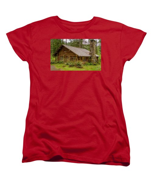 Women's T-Shirt (Standard Cut) featuring the photograph Rustic Cabin by Jerry Cahill