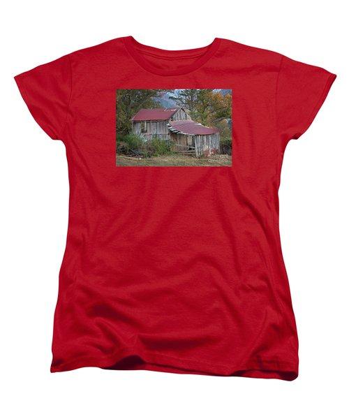 Women's T-Shirt (Standard Cut) featuring the photograph Rustic Weathered Hillside Barn by John Stephens