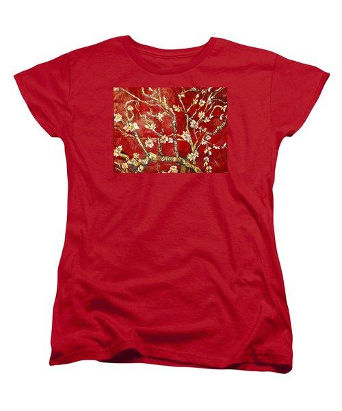 Sac Rouge Avec Fleurs D'almandiers Women's T-Shirt (Standard Cut) by Belinda Low