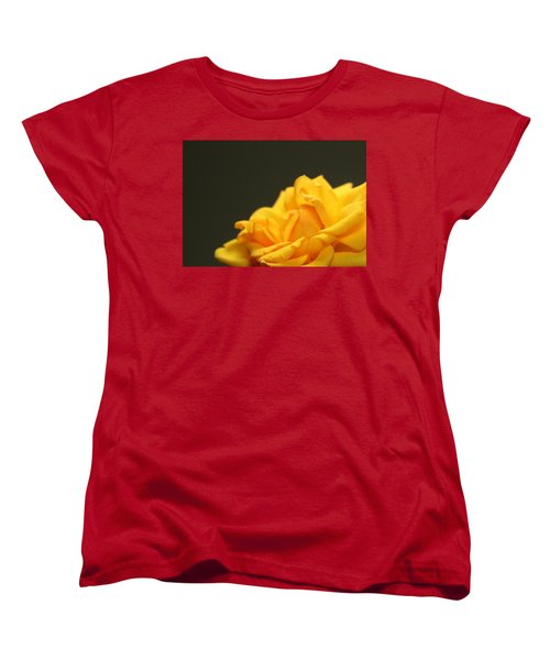 Women's T-Shirt (Standard Cut) featuring the painting Saffron Mini Rose by Marna Edwards Flavell