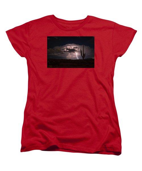 Women's T-Shirt (Standard Cut) featuring the photograph Saguaro Lit Up By The Lightning  by Saija Lehtonen