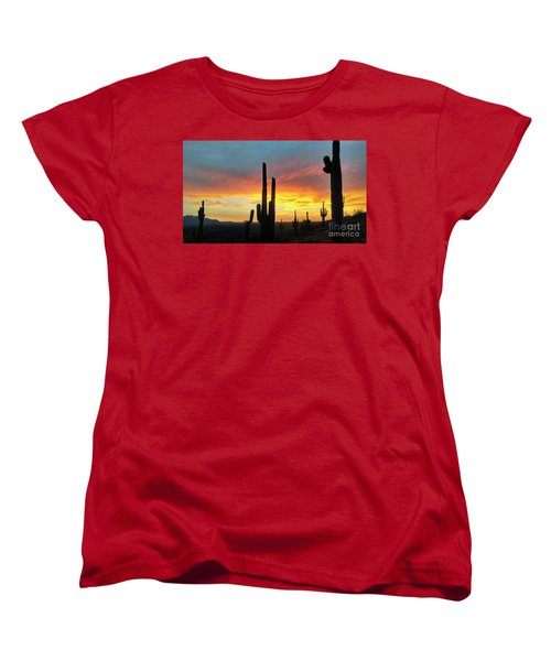 Saguaro Sunset Women's T-Shirt (Standard Cut) by Anthony Citro