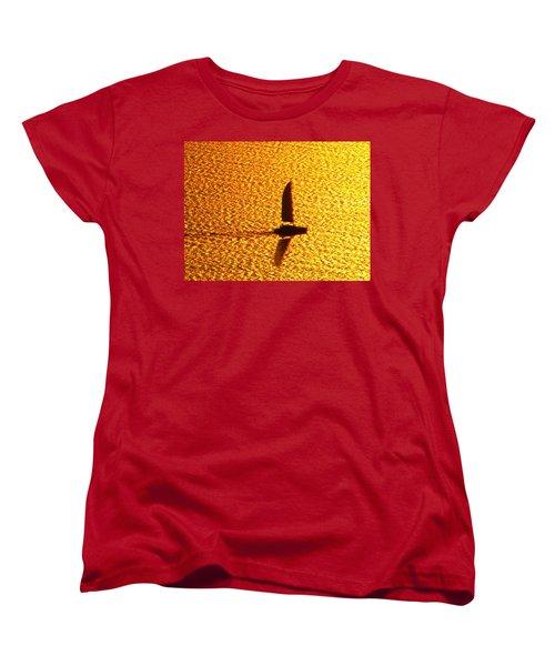 Women's T-Shirt (Standard Cut) featuring the photograph Sailing On Gold by Ana Maria Edulescu