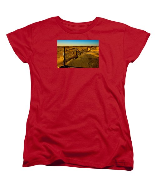 Sand Fences At Lands End II Women's T-Shirt (Standard Cut) by John Harding