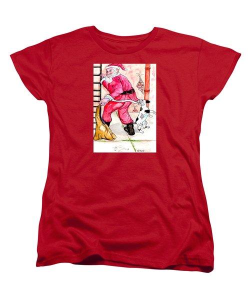 Santa Climbs The Ladder Women's T-Shirt (Standard Cut)