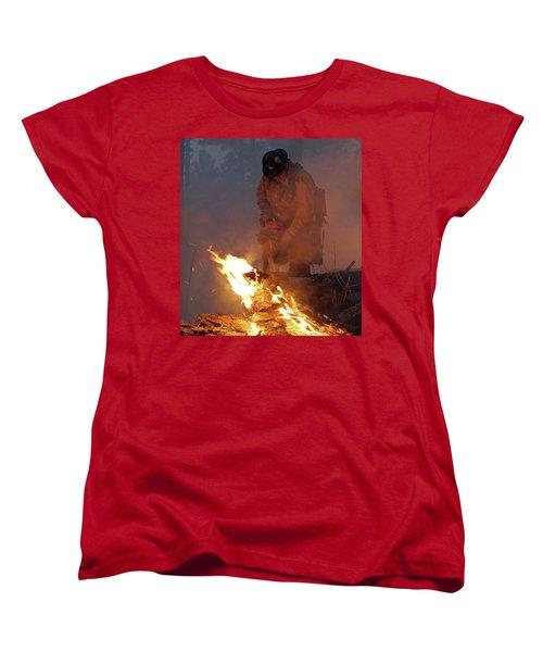 Sawyer, North Pole Fire Women's T-Shirt (Standard Cut) by Bill Gabbert