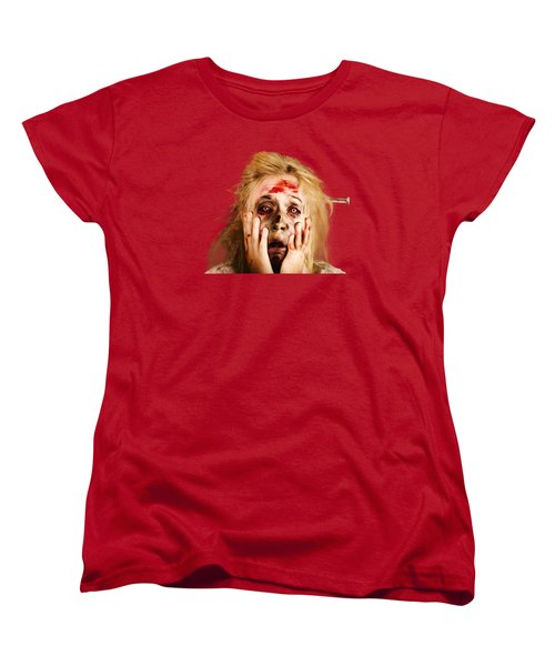 Scared Halloween Monster With Nail Through Head Women's T-Shirt (Standard Cut)