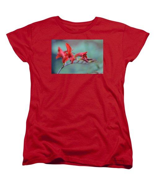 Scarlet Blooms Women's T-Shirt (Standard Cut) by Janet Rockburn