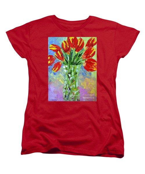 Scarlet Tulips Women's T-Shirt (Standard Cut) by Lynda Cookson
