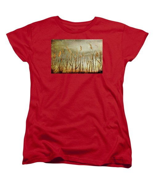 Women's T-Shirt (Standard Cut) featuring the photograph Sea Oats And Sky On Outer Banks Fx by Dan Carmichael