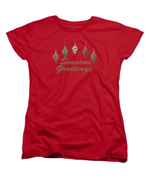 Seasons Greetings Merry Christmas Women's T-Shirt (Standard Cut) by Movie Poster Prints