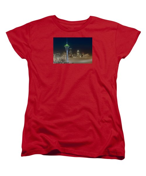 Seattle Foggy Night Lights Women's T-Shirt (Standard Cut) by Ken Stanback
