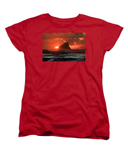 Second Beach Shark Women's T-Shirt (Standard Cut) by Adam Jewell