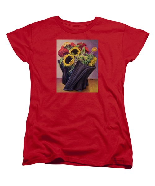 Women's T-Shirt (Standard Cut) featuring the painting September Cincher by Laura Aceto