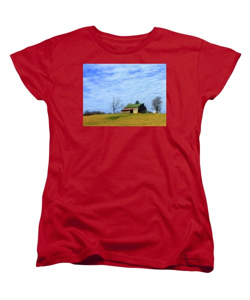 Serenity Barn And Blue Skies Women's T-Shirt (Standard Cut) by Tina M Wenger