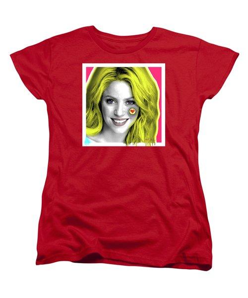 Shakira, Pop Art, Pop Art, Portrait, Contemporary Art On Canvas, Famous Celebrities Women's T-Shirt (Standard Cut)