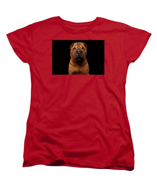 Sharpei Dog Isolated On Black Background Women's T-Shirt (Standard Cut) by Sergey Taran