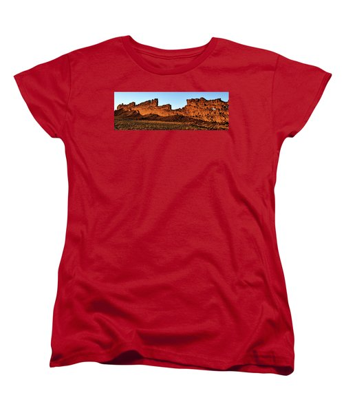Shiprock Lava Wall 003 Panorama Women's T-Shirt (Standard Cut) by George Bostian