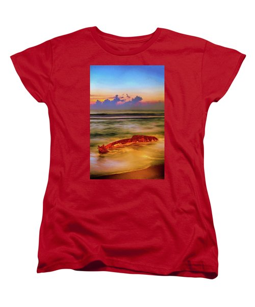 Women's T-Shirt (Standard Cut) featuring the painting Shipwreck On The Outer Banks The End Ap by Dan Carmichael