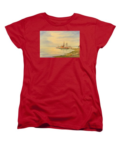 Women's T-Shirt (Standard Cut) featuring the painting Shrimp Boat Sunset by Bill Holkham