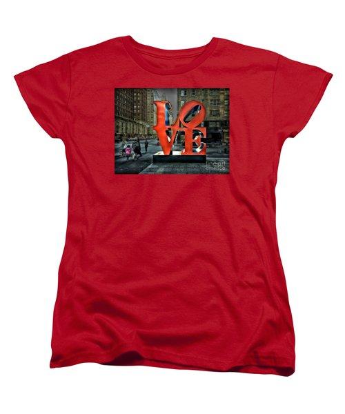Women's T-Shirt (Standard Cut) featuring the photograph Sights In New York City - Love Statue by Walt Foegelle