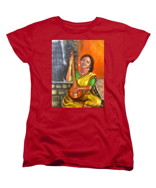 Women's T-Shirt (Standard Cut) featuring the painting Singing @ Sunrise  by Brindha Naveen