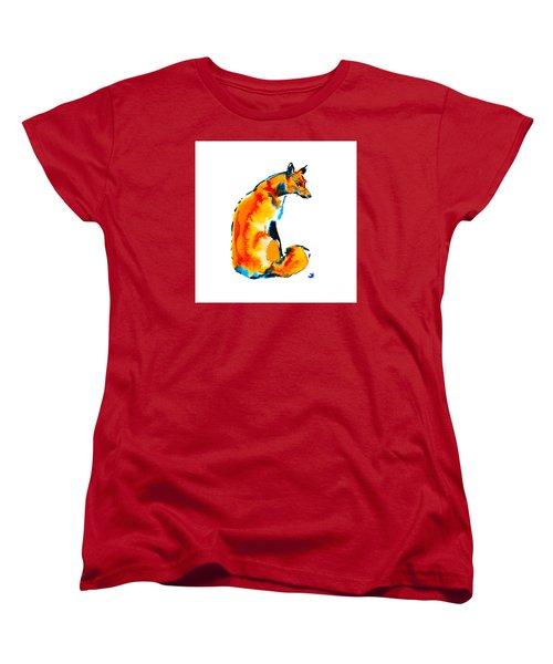 Women's T-Shirt (Standard Cut) featuring the painting Sitting Fox by Zaira Dzhaubaeva