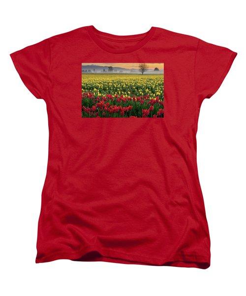 Women's T-Shirt (Standard Cut) featuring the photograph Skagit Valley Misty Morning by Dan Mihai