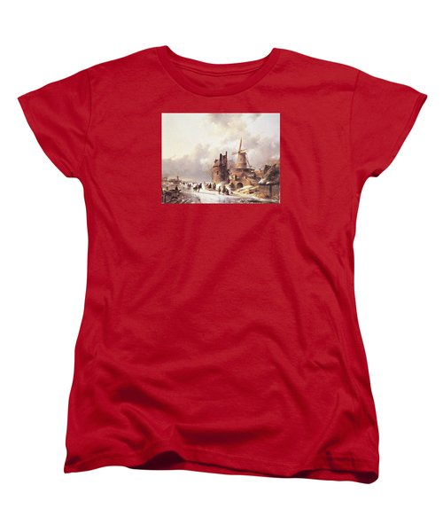 Skaters On A Frozen River Women's T-Shirt (Standard Cut) by Reynold Jay