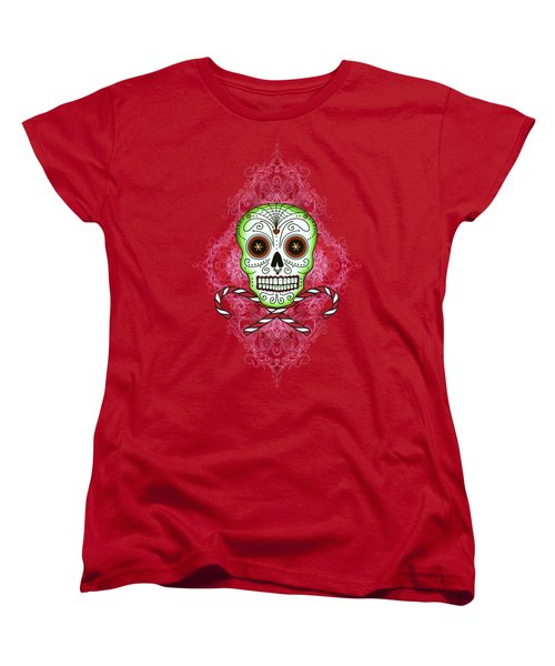 Women's T-Shirt (Standard Cut) featuring the digital art Skull And Candy Canes by Tammy Wetzel