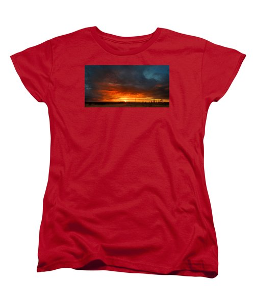 Sky On Fire Women's T-Shirt (Standard Cut) by Rod Seel