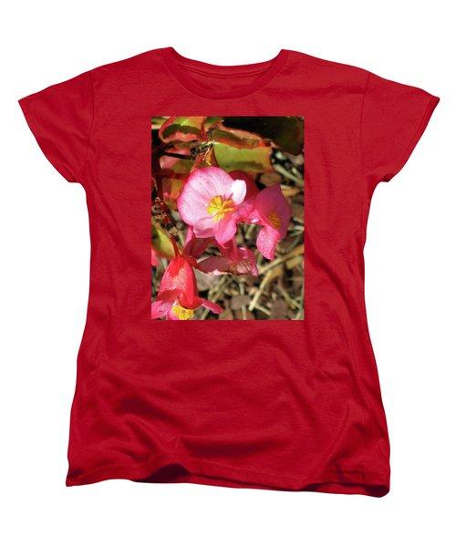 Small Pink Flowers Of Summer Women's T-Shirt (Standard Cut) by Michele Wilson