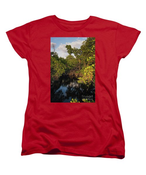 Women's T-Shirt (Standard Cut) featuring the photograph Small Waterway In Vitolo Preserve, Hutchinson Isl  -29151 by John Bald