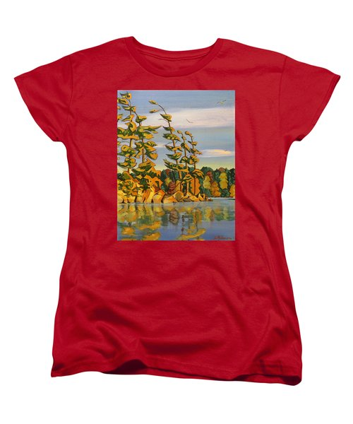 Snake Island In Fall Sunset Women's T-Shirt (Standard Cut) by David Gilmore