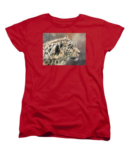 Women's T-Shirt (Standard Cut) featuring the painting Snow Leopard Study by David Stribbling