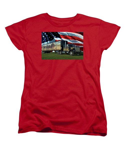 Snowmans Dream Semi Truck Women's T-Shirt (Standard Cut) by Tim McCullough