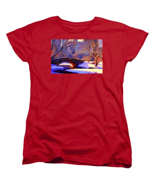 Snowy Central Park Women's T-Shirt (Standard Cut) by Caito Junqueira