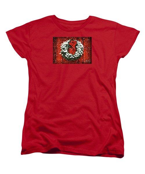 Snowy Christmas Wreath Women's T-Shirt (Standard Cut) by Lois Bryan