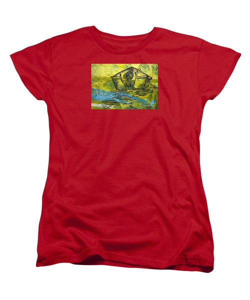 Women's T-Shirt (Standard Cut) featuring the mixed media Solitaire by Cynthia Lagoudakis