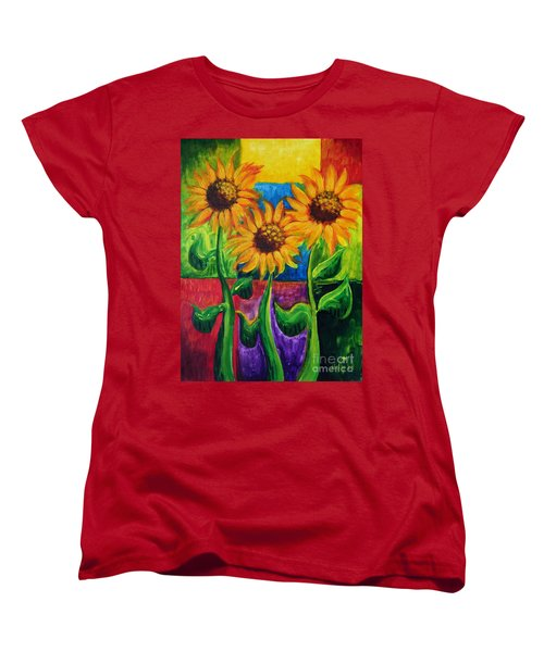 Women's T-Shirt (Standard Cut) featuring the painting Sonflowers II by Holly Carmichael