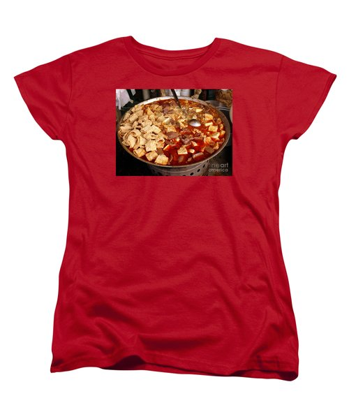 Women's T-Shirt (Standard Cut) featuring the photograph Spicy Tofu Dish With Duck Blood Cakes by Yali Shi